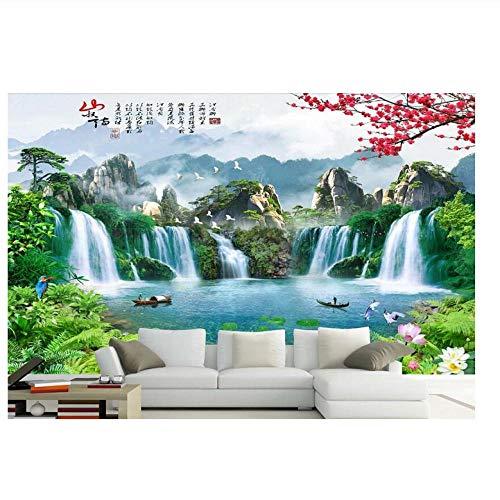 Lovemq 3D-Raumtapete High-End-Benutzerdefiniertes Wandbild Vliestapete 3 D Große Chinesische Seen Wasserfälle 3D-Wandbilder Tapete-130X80Cm