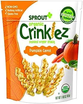 Sprout Organic Crinklez Toddler Snacks, Pumpkin Carrot, 1.48 Oz Bag