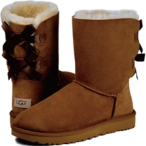 UGG Australia Bailey Damen Schleife halbhohe, wadenhohe Stiefel, schwarz, Beige - beige - Größe: 39