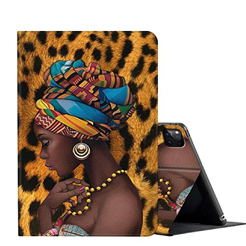 iPad Pro 11 Case 2020,AMOOK Adjustable Folio Smart Cover Stand Shockproof TPU Case with Auto Sleep/Wake & Anti-Slide Design for Apple iPad Pro 11 Inch 2nd Generation - African American Girl