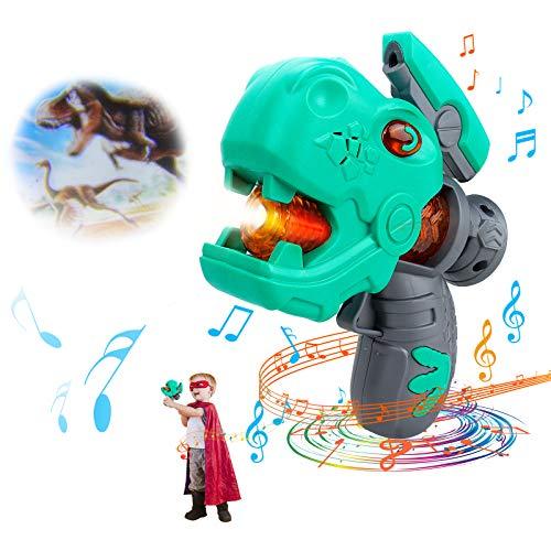 GUBOOM Giocattolo di dinosauro, Pistola Musicale Dinosauro, Pistola Musicale Dinosauro, Giocattolo Dinosauro, Dinos Giocattoli con Luce LED e Suono Realistico, Regalo per Bambini (verde)