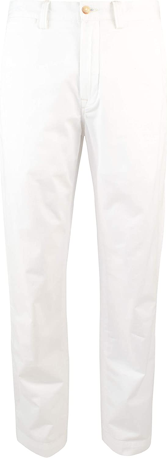 Polo Ralph Lauren Men's Straight-Fit Flat-Front Stretch Twill Chino Pants-W-34WX34L White