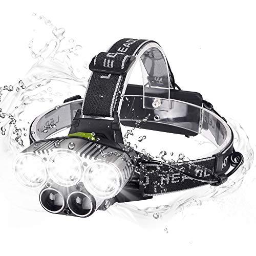 Myguru LED Kopflampe Stirnlampe, USB Wiederaufladbarere Stirnlampen Sport Scheinwerfer 6 Modi Beleuchtung 5000 Lumen Stoßfester zum Wandern Laufen Angeln Camping Klettern