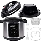 Thomson TFPC607 9-in-1 Pressure, Slow Cooker, Air Fryer and More | Dual Lid with 6.5 QT Capacity, Digital Touch Display, Included Cooking Accessories