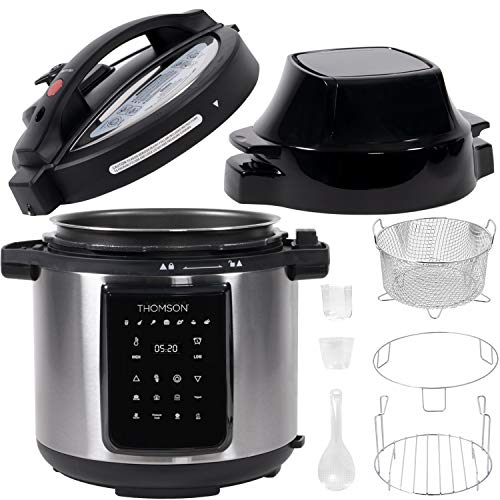 Thomson TFPC607 9-in-1 Pressure, Slow Cooker, Air Fryer and More | Dual Lid with 6.5 QT Capacity, Digital Touch Display, Included Cooking Accessories, Stainless Steel