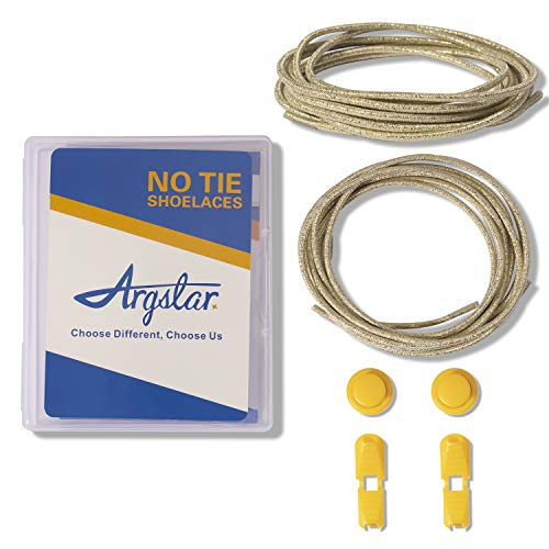 Argstar Elastic No Tie Shoelaces for Adults and Kids, Tieless Stretch Shoe Laces for Sneakers (Solid Gold)