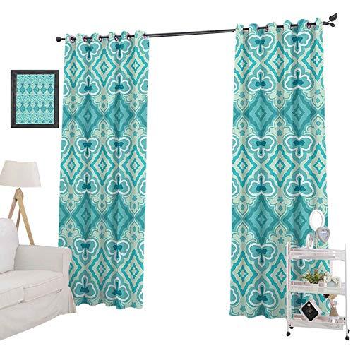 YUAZHOQI - Cortinas opacas estampadas abstractas geométricas vintage con diseño floral histórico arquitectónico, cortinas opacas para sala de estar de 132 x 213 cm, color beige