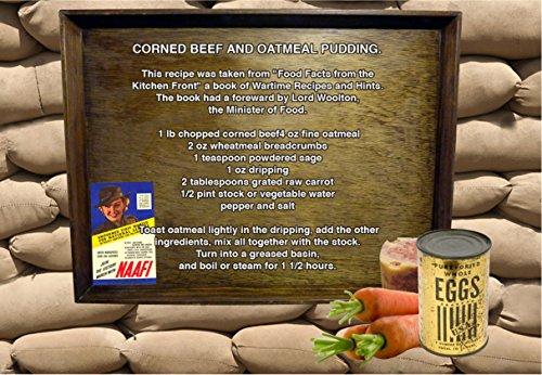 Corned carne y ornamentos florales Diseño de pudín de recetas A5 impresión de lienzo. WW2 segunda guerra mundial racionamiento de cocina homefront 1940s