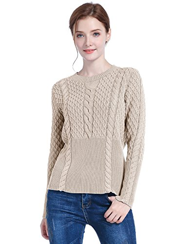 v28 Women's Cotton Cable Knitted Crew-Neck Casual Long Sleeves Pullover Sweater (Large, Taro)