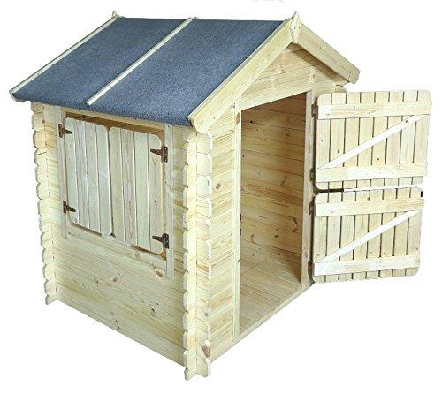 Kinder Spielhaus Leonie 1,05 x 1,30 Meter aus 19mm Blockbohlen - Kinder Gartenhaus Kinderspielhaus Kinderhaus Spielhaus Holz inkl. Dachpappe und Fußboden