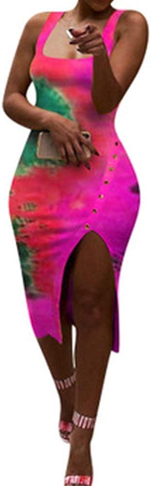 Women's Floral Printed Deep Square Neck Button Split Bodycon Midi Sexy Dresses Sleeveless Summer Slim Party Dress