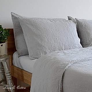 Linen & Cotton Funda de Almohada Alicia, 100% Lino Lavado a La Piedra - 50 x 70cm (Gris)