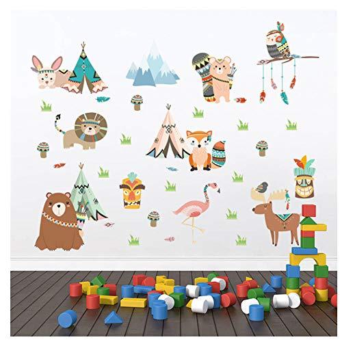 Wwjwf Animaux Indien Stickers Muraux Pour Enfants Chambres Home Decor Bande Dessinée Hibou Lion Ours Fox Stickers Muraux Pvc Murale Art