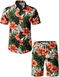 JOGAL Men's Flower Casual Button Down Short Sleeve Hawaiian Shirt Suits Large Green