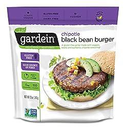 Gardein Chipotle Black Bean Burger Meatless Protein Packed Patties, Gluten Free, Ready in 8 Minutes,