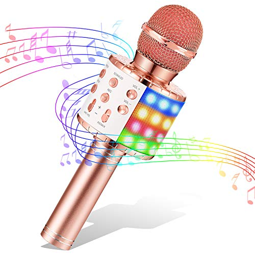 LET'S GO! Gifts for 3-12 Year Old Girls Karaoke Microphone for Kids, Wireless Bluetooth Karaoke Mic Kids Microphone with LED Lights Xmas Birthday Presents for 6-12 Year Old Girls (Rose Gold)