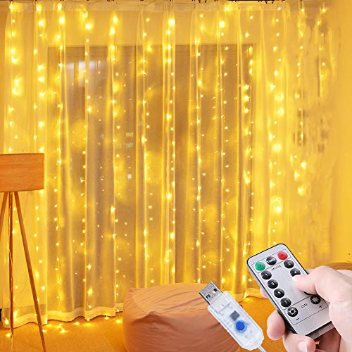 ICETEK イルミネーションライト LED ジュエリーライト 3M*3M 300電球 ストリングスライト led カーテンライト USB式 リモコン制御 IP65防水 8つパターン 点滅 点灯 タイマー機能 防水 屋外 室内 ガーデンライト 正月 クリスマス 飾り ストリングライト