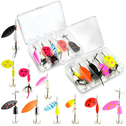 10Pcs Advanced UV Fishing Lures for Freshwater - Bass Fishing Spinnerbaits - Bass Fishing Gear - Trout Fishing Gear - Spinner Baits for Bass, Salmon, Trout, Walleye & More - 2 Tackle Box Included!