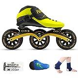 HHYK Pattini a rotelle, Scarpe da Pattinaggio di velocità, Scarpe da Corsa, Pattini for Adulti for Bambini, Pattini for Uomini e Donne (Color : Yellow Shoes+Black Wheels, Size : 44)