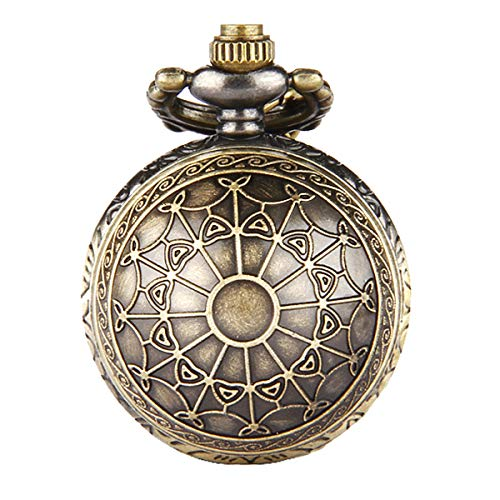 Jewelrywe Orologio da tasca Bronce retrò vintage A lunga catena ciondolo tondo 80 cm, Orologio da tasca donne Unisex, Il regalo di Natale