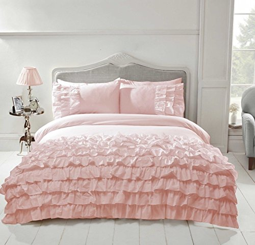 NCS Flamenco Embellished Ruffles Frilly Frills Duvet Bedding Quilt Cover Set (Blush Pink, Super King)