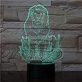Hombre León 3D Luz de noche 7 Botón táctil que cambia de color Lámpara de mesa LED Lámpara de Navidad USB Lámpara de regalo para niños Dormitorio Mesita de noche Decoración