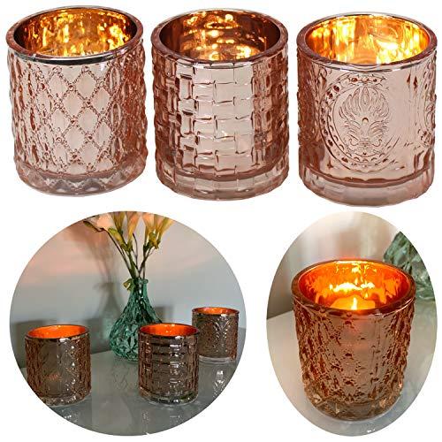 LS-Design 3x Glas Teelichthalter Windlicht-Halter Rose Kupfer 7x7cm Teelichtglas