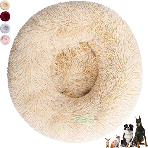 Hundebett Innen, Kissen für große Hunde, flauschiges Hundebett für große und kleine Hunde und Katzen, waschbar (80 cm, Beige)