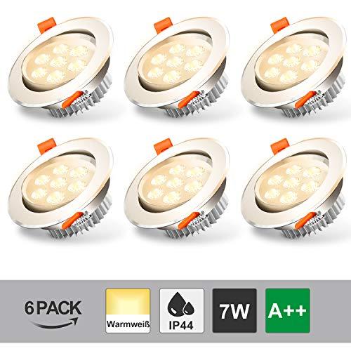 BMOT Paquete de 6 7W LED empotrada en el techo Luz blanca cálida 3200K Downlights 560lm Foco para sala de estar Dormitorio Cocina Baño (Equivalente 60W)