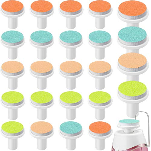 24 Pieces Baby Nail File Pads Nail Trimmer Replacement Pads Electric Baby Nail Grinding Heads for Standard Electric Kid Nail Trimmer Suits to Newborn Infant Toddler (Pink, Light Blue, Green, Orange)