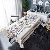 幾何学的なプリントボヘミアンテーブルクロス、ホームプリントコットンとリネンテーブルクロススクエアテーブルコーヒーテーブル、家の装飾、キッチンガーデンテーブルカバー、パーティーホリデーディナーなどに適しています。 (Color : A, Size : 140*180cm)