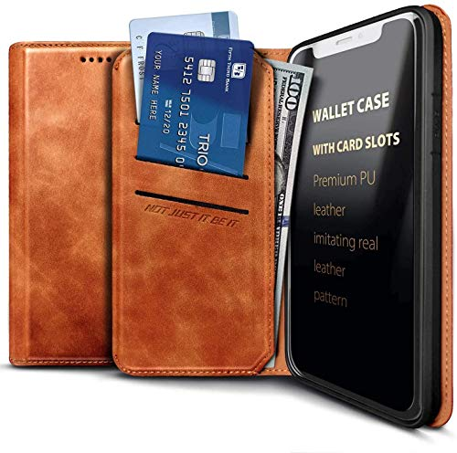 E-Began Wallet Case for LG K40 LMX420, LG Solo 4G LTE L423DL/K12 Plus/X4 2019/Xpression Plus 2 (AT&T)/Harmony 3, Credit Card Holder, Kickstand Feature Premium Leather Folding Flip Case -Brown