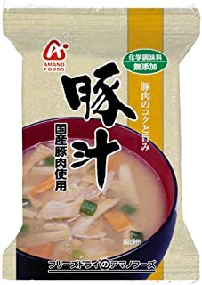 Amano Foods Freeze-dried Additive-free Miso Soup with Pork and Vegetables 0.4oz X 10bags(for 10 Servings) [Japan Import]
