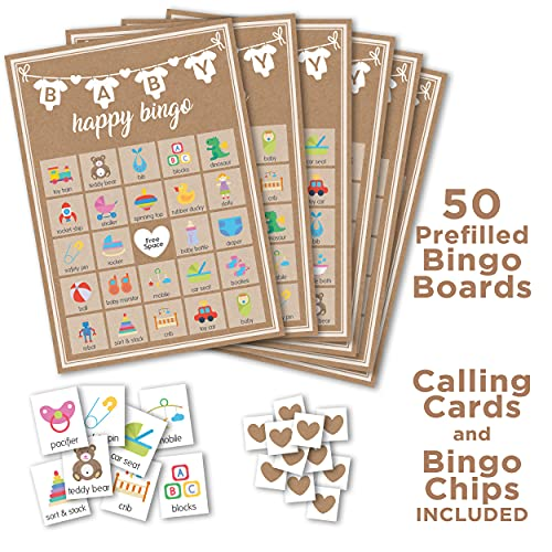 Baby Shower Games Kraft, Party Hearty, 5 Games, 50 Sheets Each, 5x7 inches, Fun, Easy to Play Games, Includes Baby Predictions Advice, Emoji Pictionary, Guess Who Mommy or Daddy, Bingo, Word Scramble