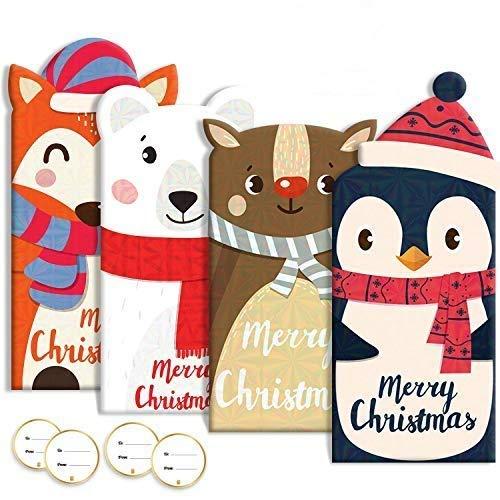 Lot de 60 cartes cadeau de Noël avec motifs holographiques, 20 cartes, 20 enveloppes, 20 autocollants.