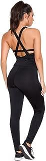 Women's Athletic Sheer Soft Bodice Cardio One Piece Black Jumpsuit