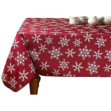Violet Linen Decorative Christmas Snowflakes Design Red Tablecloths, 60  x 102