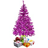 Mojawo Árbol de Navidad artificial (150 cm, incluye soporte), color morado y rosa