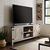 Walker Edison Furniture Company Modern Farmhouse Barn Wood Stand with Cabinet Doors TV's up to 80' Living Room Storage Shelves Entertainment Center, 70 Inch, White Oak