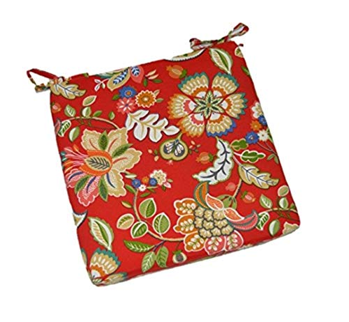 Great Price! New Universal Chair Seat Cushion 2 Foam with Ties -Red - Floral Paisley (19.5x18.5)
