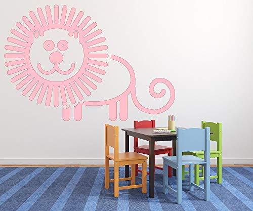 jiushizq Nettes Baby Kinderzimmer Wandaufkleber Aufkleber Animiertes Bild Fröhlich Löwe Ungiftig PVC Kinderzimmer Kunst Wohnkultur L 2 62 cm x 42 cm