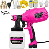 THINKWORK Pink Paint Sprayer, High Power HVLP Home Electric Spray Gun, HVLP Paint Gun with 5 Copper Nozzles & 3 Patterns, Tool Kit For Women, for Furniture, Fence, Car, Bicycle, Chair, Gifts for Women