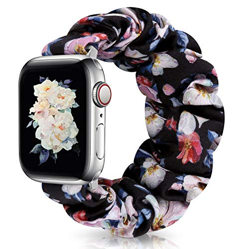 JIELIELE Compatible with Scrunchie Apple Watch Band 38mm 40mm 42mm 44mm, Cute Elastic Wristbands for Women, Stretchy Strap Iwatch Bands for Apple Watch Series SE 6 5 4 3 2 1 (M-42/44 Camellia)