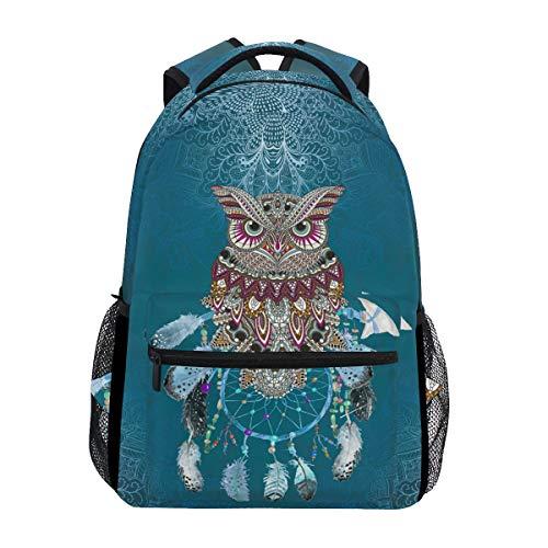 Backpacks Owl Tribal Dream Catcher School BookBags Travel Laptop Daypack Bag Purse for Girls Kids Boys Mens Womens