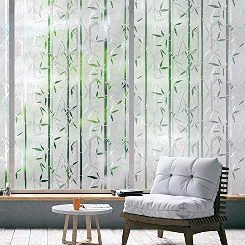 rabbitgoo Fensterfolie Selbsthaftend Sichtschutzfolie Blickdicht Bambus, Klebefolie Fenster 3D Dekofolie Statisch Anti-UV 90 x 200cm
