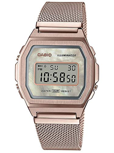 Casio Unisex Digital Quarz Uhr mit Edelstahl Armband A1000MCG-9EF