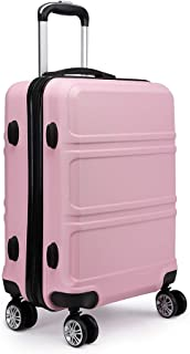 """Kono Fashion Hand Luggage Lightweight ABS Hard Shell Trolley Travel Suitcase with 4 Wheels Cabin Carry-on Suitcases (20"""", ..."""