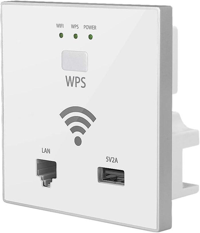 XZANTE Enrutador WiFi De Pared 300 Mbps Punto De Acceso InaláMbrico Enchufe con Rj45 USB WPS Cifrado para Hotel Casa Proyecto Soporte AC ...
