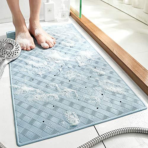 Alfombrilla de ducha antideslizante antideslizante para baño con agujeros de drenaje y ventosas, lavable a máquina, color blanco (70 x 40 cm)