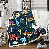 Manta de forro polar con diseño de champiñones y setas de color brillante para decoración de la habitación de los niños, ligera y natural, 152,4 x 200,7 cm